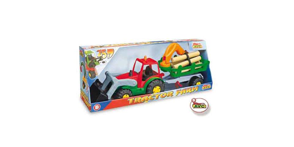 Camiones. Tractor con pala y remolque grua en caja.Ref.5200