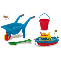 Toys Beach & Outdoor. Set with wheel barrow and boat.Item.5012